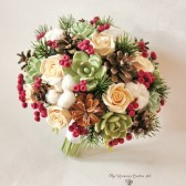 winter bouquet, cotton pods bouquet, fir cones bouquet, red green bouquet, keepsake bouquet, alternative bouquet, clay flowers bouquet, succulent bouquet