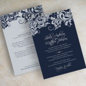 Navy and silver, vintage, victorian filigree wedding invitations