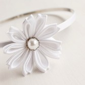Kanzashi Bridal Head Piece, Flower Girl Headband, White Wedding Headband