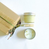 Green Tea Jasmine - Gift Set Soy Candle Whipped Body Butter Lip Balm - Bridesmaid Gift wedding gift