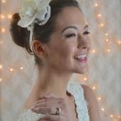 Lace headpiece with Gardenia flower clip, pearl beaded headband with lace hair flower