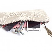 Linen and lace clutch