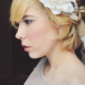 Lace headband with Handmade Ivory Flower