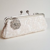 Ivory Floral Lace Bridal Clutch