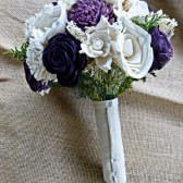 Alternative Wedding Bouquet - Custom Purple Lilac Ivory Bridal Bridesmaid Bouquet, Keepsake Bouquet