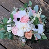 Forever Bridal Bouquet - Faux Succulents, Silk Flowers, Sola Flowers, Anemones, Cottage Roses, Seeded Eucalyptus, Berry Spray, Wedding