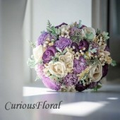 Alternative Bridal Bouquet - Luxe Collection Bridal Bouquet- Purple, Sola Flowers, Dusty Miller