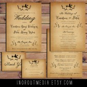 Lovebirds & Laurels Vintage Wedding Invitation Suite
