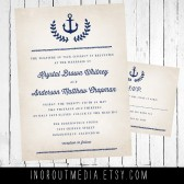 Laurel and Anchor Rustic Nautical Wedding Invitations