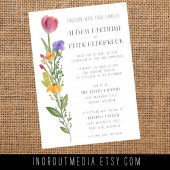 Watercolor Flowers Invitation