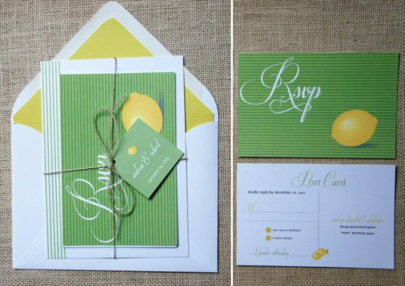 Lemon Wedding Invitations (by Dawn Correspondence) #wedding #handmade via The Marketplace at EmmalineBride.com