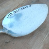 Vintage Silverware Hand Stamped Solid Cake Server Let's Eat Cake