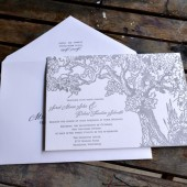 Fall themed letterpress wedding invitation.