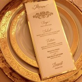 Letterpress menu in ivory, gold and pink