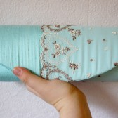 Light blue clutch with brown and ivory hearts