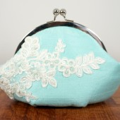 Light blue aqua silk with ivory lace