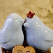Light Blue Love Bird Cake Topper