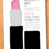 lipstick kiss bachelorette night out party invitation