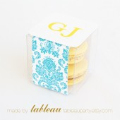 Customizable Damask Favor Box Kit with Personalized Labels