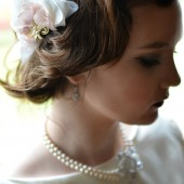 Blush and Ivory Ruffle Comb