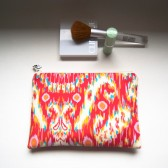 Cosmetic Ikat clutch pouch, handmade padded clutch pouch bag, red orange yellow zippered pouch clutch, bridesmaid gift idea