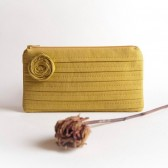 Bridesmaid Gift idea clutch pouch in mustard yellow, pleated evening bag, wedding clutch pouch purse