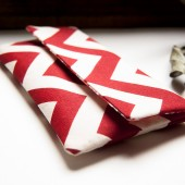 Handmade Red Wedding Clutch Purse, Foldover envelope wedding clutch purse, red white chevron
