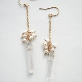 Long Pearl & Crystal Earrings