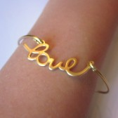 Gold Love Bangle Bracelet Gold Charm Script - Stackable Bangle Charm Bracelet