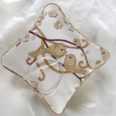 Ivory love birds wedding ring pillow