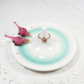Pink love birds wedding ring stand, custom ceramic engagement ring dish