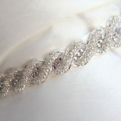 Beaded Bridal Sash, Rhinestone Beaded Sash, Satin ribbon dress sash, Love Knot Twist, silver