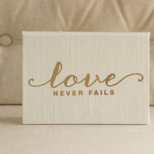 Love Never Fails - Wedding Vows Framed - Gold Foil Silk Folio Keepsake - Vow Book