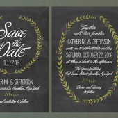 Chalkboard Wreath Wedding Invitations