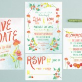 Painted Floral Wedding Invitations
