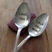 Vintage Silverware Hand Stamped Love You Teaspoon Set