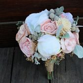 Keepsake Bridesmaid Bridal Bouquet - Silk Flowers, Peony, Anemone, Sola Flowers, Wood Flowers, Wedding Flowers, Dusty Miller, Silver Brunia