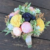 Keepsake Bridal Bouquet - Silk Flowers, Peonies, Sola Flowers, Thistles, Dusty Miller, Wedding Flowers, Navy Blush Yellow