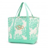 Monogram Mint Coral Beach Bag
