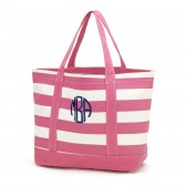 Monogram Striped Beach Bag