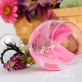 Hand painted wine glass in a Magenta Stargazer Lilly