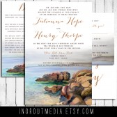 Rustic wedding invitations - The Maine Coast - seaside, ocean wedding suite