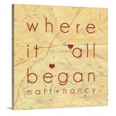 Map Canvas with dotted lined connceting hearts