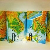 Map Luminaries, Map Wedding, Travel Theme Decor, Custom Made by OldenDesigns