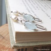Something blue - Marquise Aquamarine Earrings in Sterling Silver