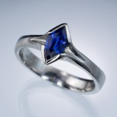 Chatham Marquise Blue Sapphire Semi-Bezel Solitaire Engagement Ring