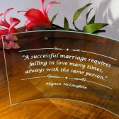 Engraved Glass Marriage Plaque, Gift for Bride and Groom