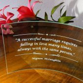 Wedding gift for Bride and groom, glass plaque