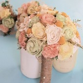 Peach ivory yellow green medium bouquet