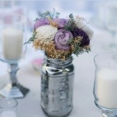 wedding reception, centerpiece, wedding flowers, sola flowers, beach wedding, purple wedding, curious floral, dusty miller